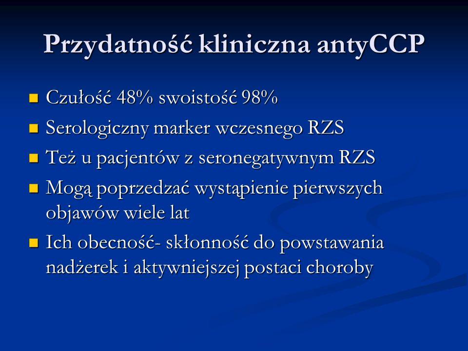 Przydatność kliniczna antyCCP Czułość 48% swoistość 98% Czułość 48% swoistość 98% Serologiczny marker wczesnego RZS Serologiczny marker wczesnego RZS