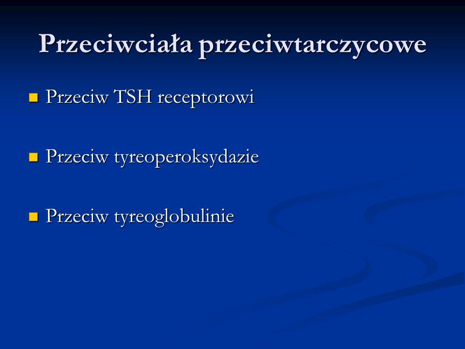 Przeciwciała przeciwtarczycowe Przeciw TSH receptorowi Przeciw TSH receptorowi Przeciw tyreoperoksydazie Przeciw tyreoperoksydazie Przeciw tyreoglobul