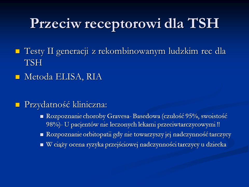 Przeciw receptorowi dla TSH Testy II generacji z rekombinowanym ludzkim rec dla TSH Testy II generacji z rekombinowanym ludzkim rec dla TSH Metoda ELI