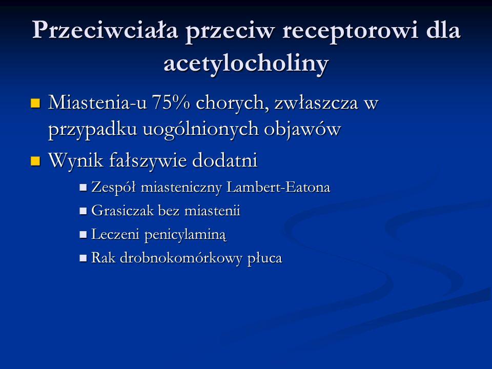Przeciwciała przeciw receptorowi dla acetylocholiny Miastenia-u 75% chorych, zwłaszcza w przypadku uogólnionych objawów Miastenia-u 75% chorych, zwłas