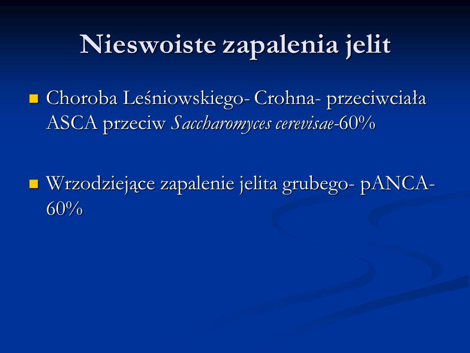 Nieswoiste zapalenia jelit Choroba Leśniowskiego- Crohna- przeciwciała ASCA przeciw Saccharomyces cerevisae-60% Choroba Leśniowskiego- Crohna- przeciw