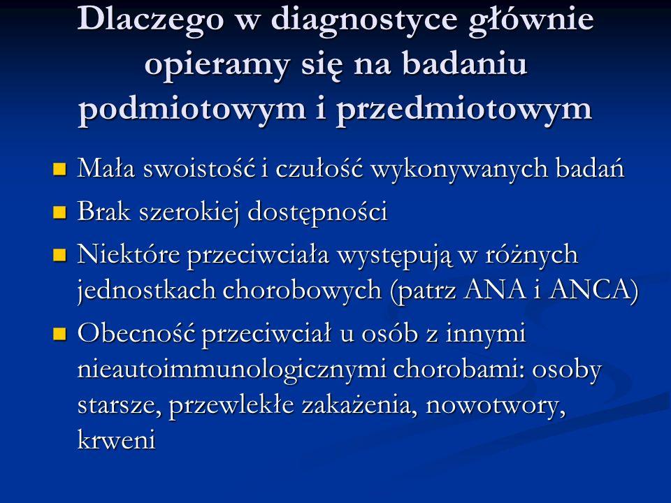 Diagnostyka chorób narządowo nieswositych Oznaczanie przeciwciał przeciwjądrowych Oznaczanie przeciwciał przeciwjądrowych Oznaczanie przeciwciał przeciw cytoplazmie neutrofilów Oznaczanie przeciwciał przeciw cytoplazmie neutrofilów Biopsja Biopsja