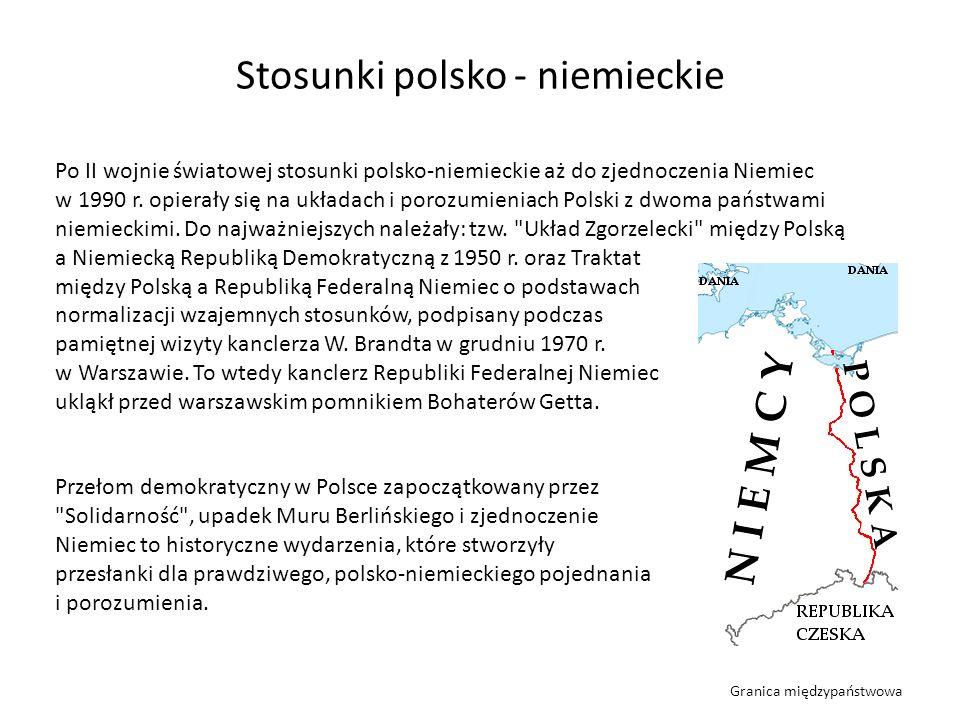 Po II wojnie światowej stosunki polsko-niemieckie aż do zjednoczenia Niemiec w 1990 r. opierały się na układach i porozumieniach Polski z dwoma państw