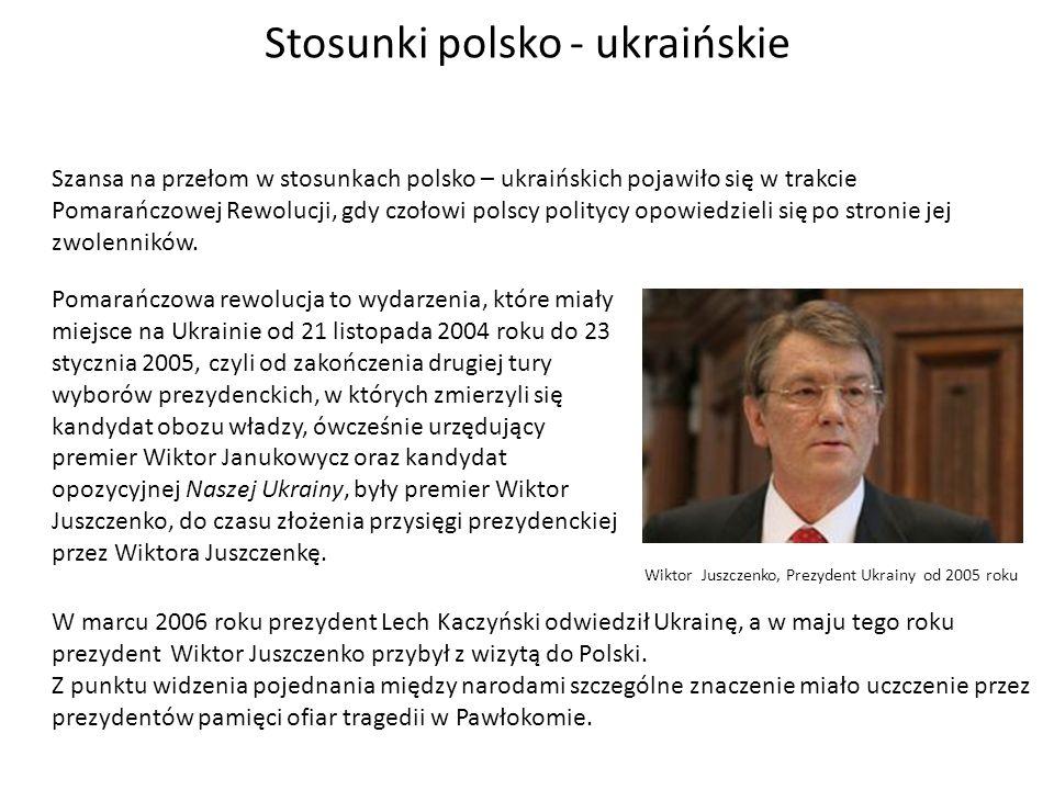 Stosunki polsko - ukraińskie Szansa na przełom w stosunkach polsko – ukraińskich pojawiło się w trakcie Pomarańczowej Rewolucji, gdy czołowi polscy po