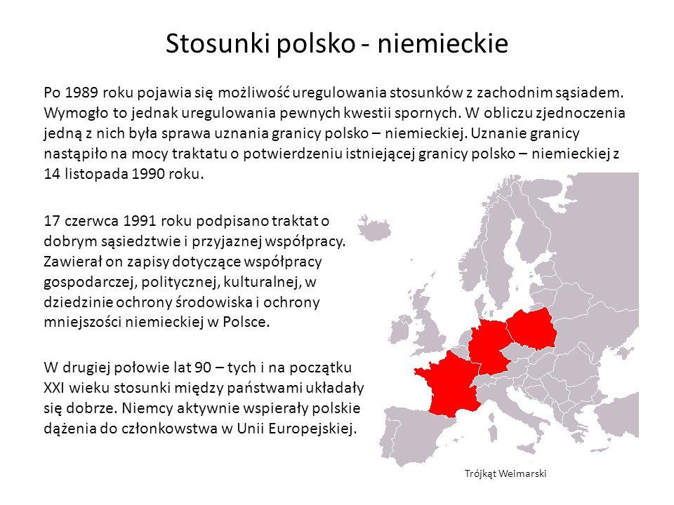 Stosunki polsko - niemieckie Po 1989 roku pojawia się możliwość uregulowania stosunków z zachodnim sąsiadem. Wymogło to jednak uregulowania pewnych kw