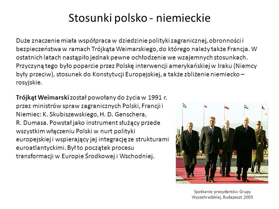 Spotkanie prezydentów Grupy Wyszehradzkiej, Budapeszt 2003 Stosunki polsko - niemieckie Duże znaczenie miała współpraca w dziedzinie polityki zagranic