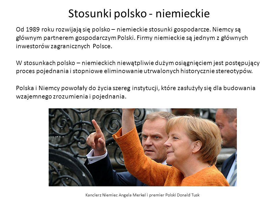 Stosunki polsko - niemieckie Od 1989 roku rozwijają się polsko – niemieckie stosunki gospodarcze. Niemcy są głównym partnerem gospodarczym Polski. Fir