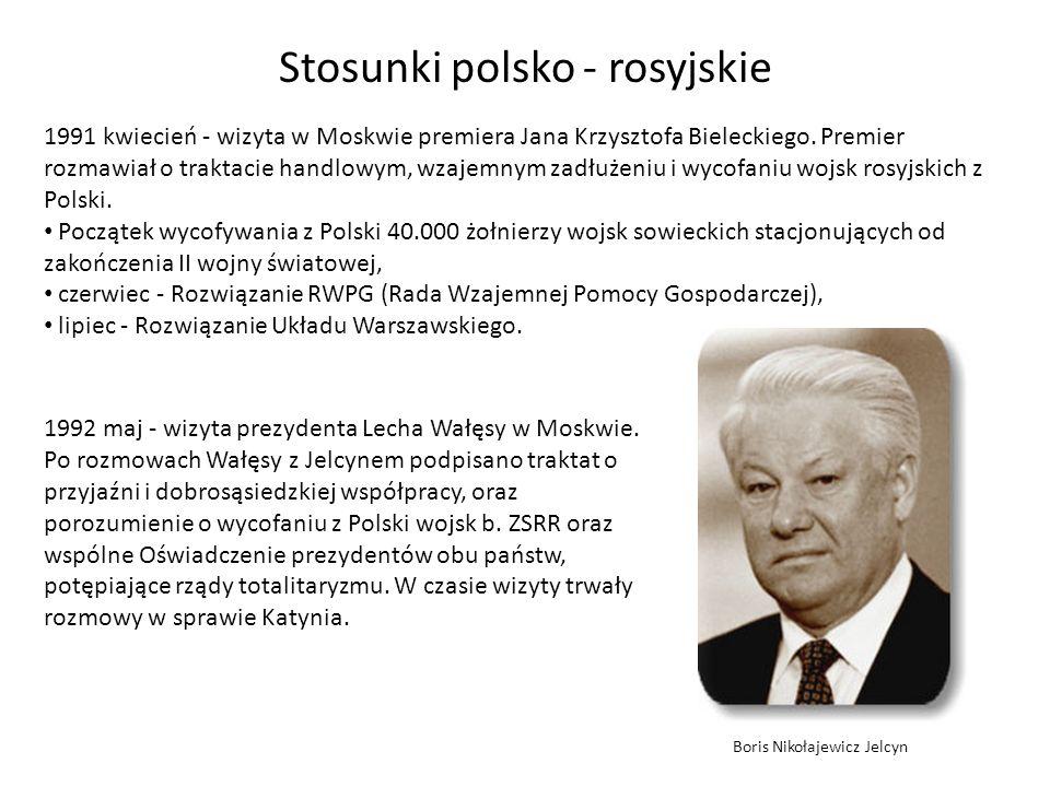 Stosunki polsko - rosyjskie 1991 kwiecień - wizyta w Moskwie premiera Jana Krzysztofa Bieleckiego. Premier rozmawiał o traktacie handlowym, wzajemnym