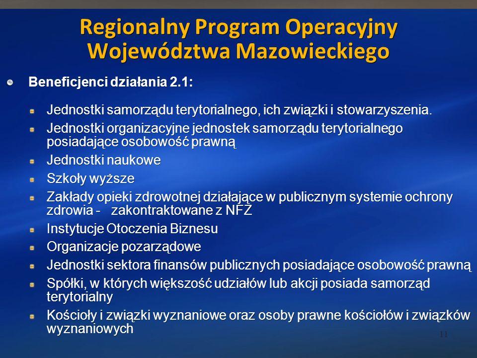 Beneficjenci działania 2.1: Jednostki samorządu terytorialnego, ich związki i stowarzyszenia.