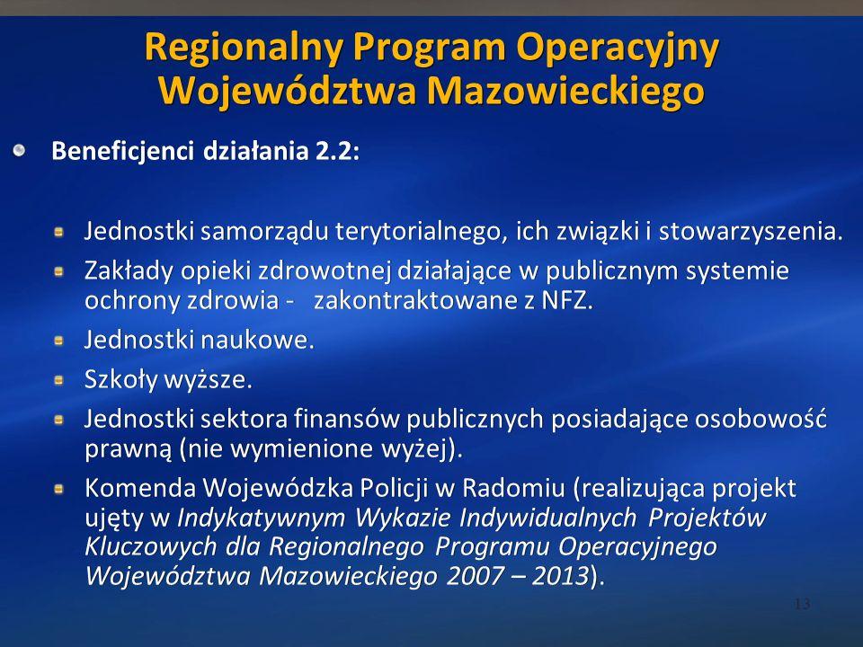 Beneficjenci działania 2.2: Jednostki samorządu terytorialnego, ich związki i stowarzyszenia.