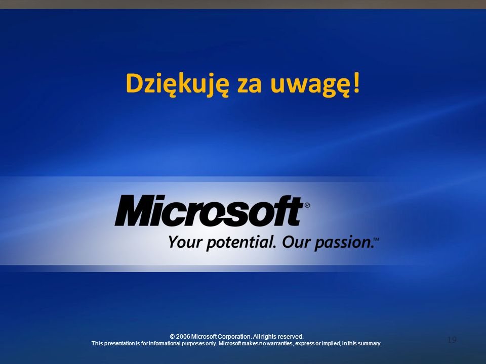19 © 2006 Microsoft Corporation. All rights reserved. This presentation is for informational purposes only. Microsoft makes no warranties, express or