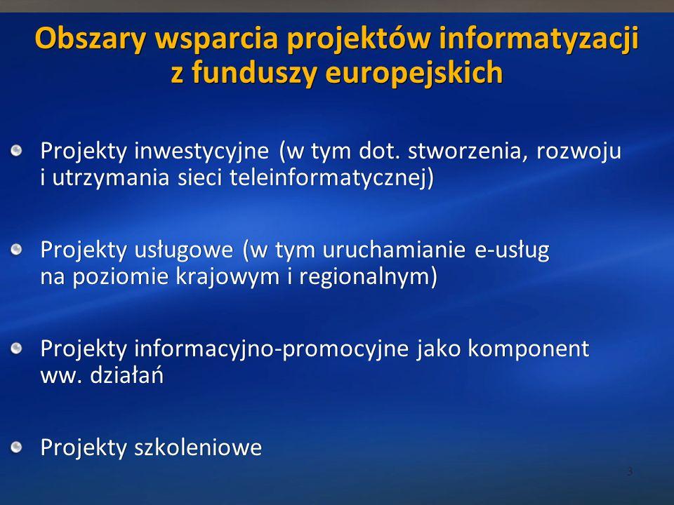 Obszary wsparcia projektów informatyzacji z funduszy europejskich Projekty inwestycyjne (w tym dot.