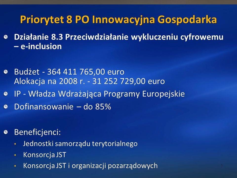 Priorytet 8 PO Innowacyjna Gospodarka Działanie 8.3 Przeciwdziałanie wykluczeniu cyfrowemu – e-inclusion Budżet - 364 411 765,00 euro Alokacja na 2008 r.