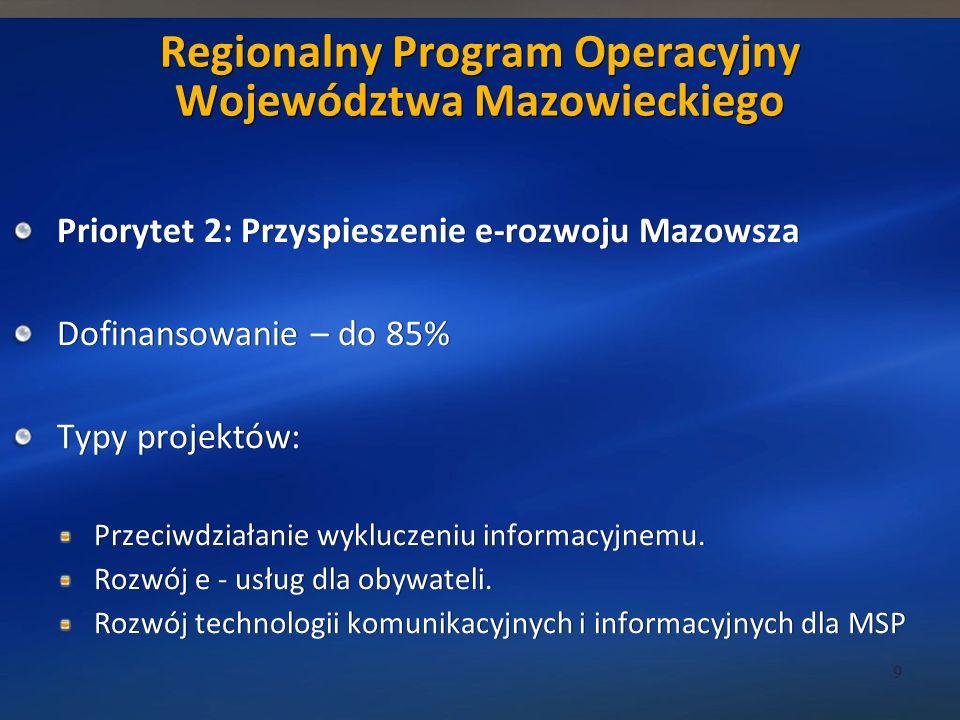 Regionalny Program Operacyjny Województwa Mazowieckiego Priorytet 2: Przyspieszenie e-rozwoju Mazowsza Dofinansowanie – do 85% Typy projektów: Przeciwdziałanie wykluczeniu informacyjnemu.