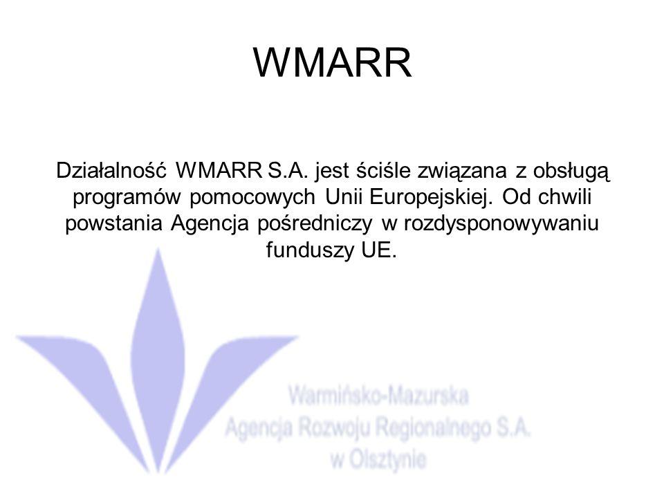 WMARR Działalność WMARR S.A.jest ściśle związana z obsługą programów pomocowych Unii Europejskiej.