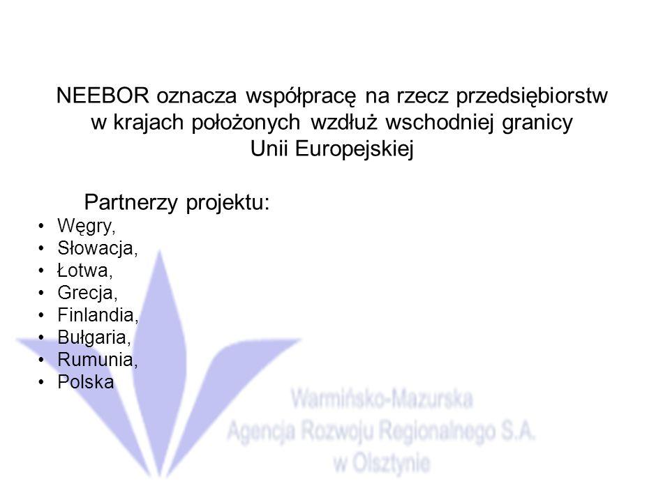 NEEBOR oznacza współpracę na rzecz przedsiębiorstw w krajach położonych wzdłuż wschodniej granicy Unii Europejskiej Partnerzy projektu: Węgry, Słowacja, Łotwa, Grecja, Finlandia, Bułgaria, Rumunia, Polska