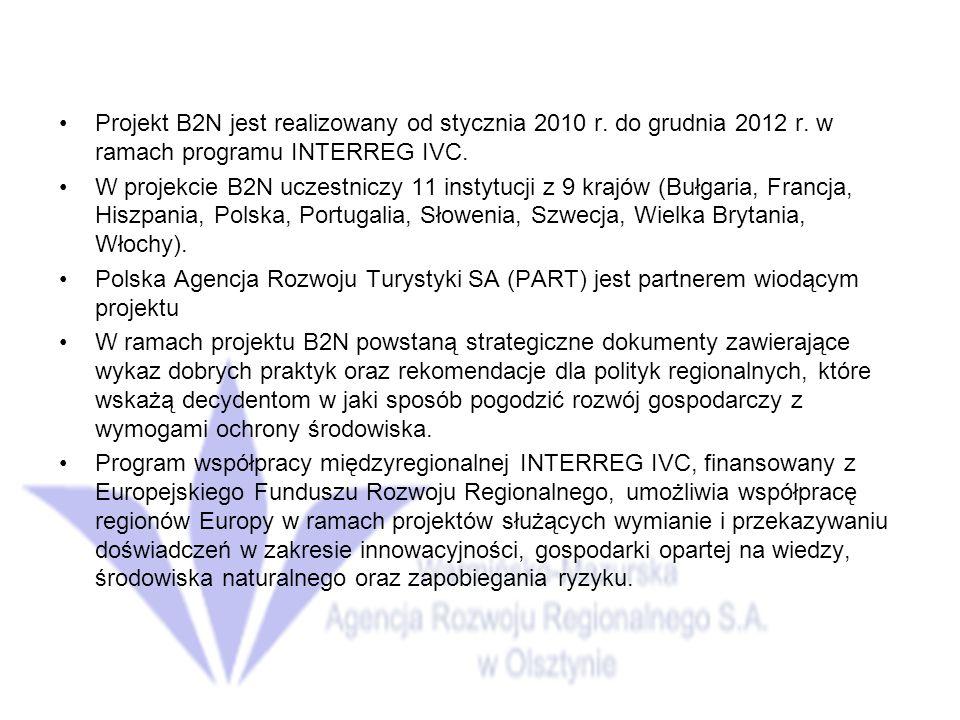 Projekt B2N jest realizowany od stycznia 2010 r.do grudnia 2012 r.