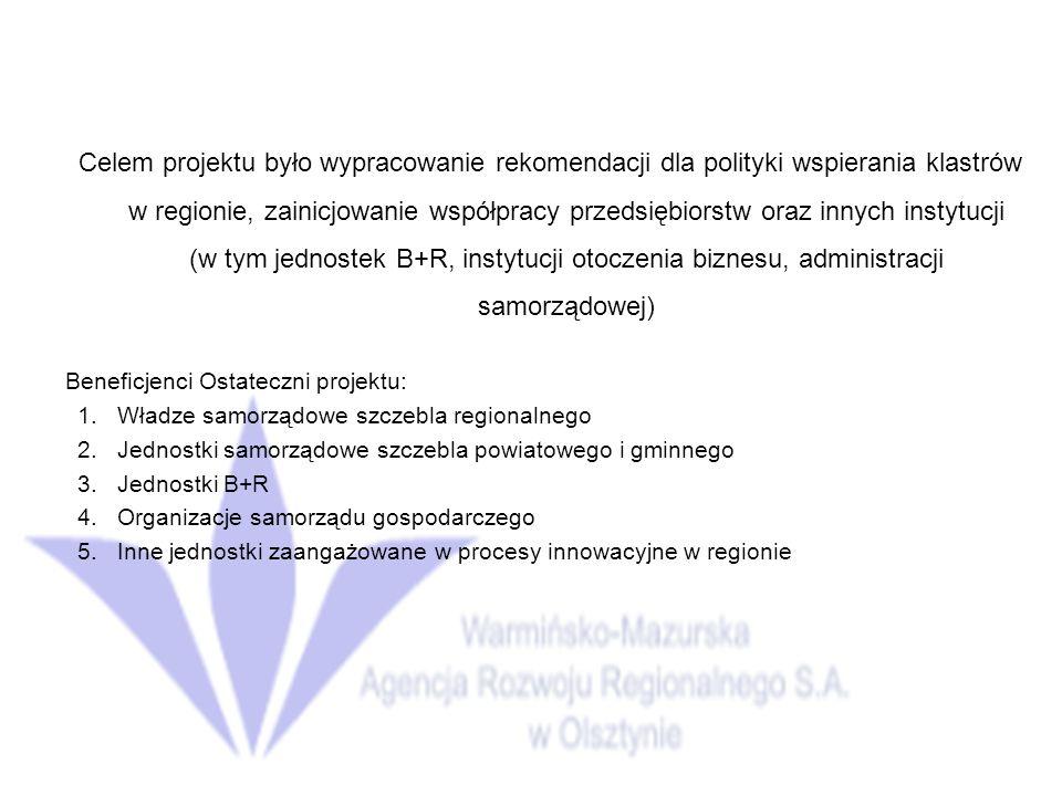 Celem projektu było wypracowanie rekomendacji dla polityki wspierania klastrów w regionie, zainicjowanie współpracy przedsiębiorstw oraz innych instytucji (w tym jednostek B+R, instytucji otoczenia biznesu, administracji samorządowej) Beneficjenci Ostateczni projektu: 1.Władze samorządowe szczebla regionalnego 2.Jednostki samorządowe szczebla powiatowego i gminnego 3.Jednostki B+R 4.Organizacje samorządu gospodarczego 5.Inne jednostki zaangażowane w procesy innowacyjne w regionie