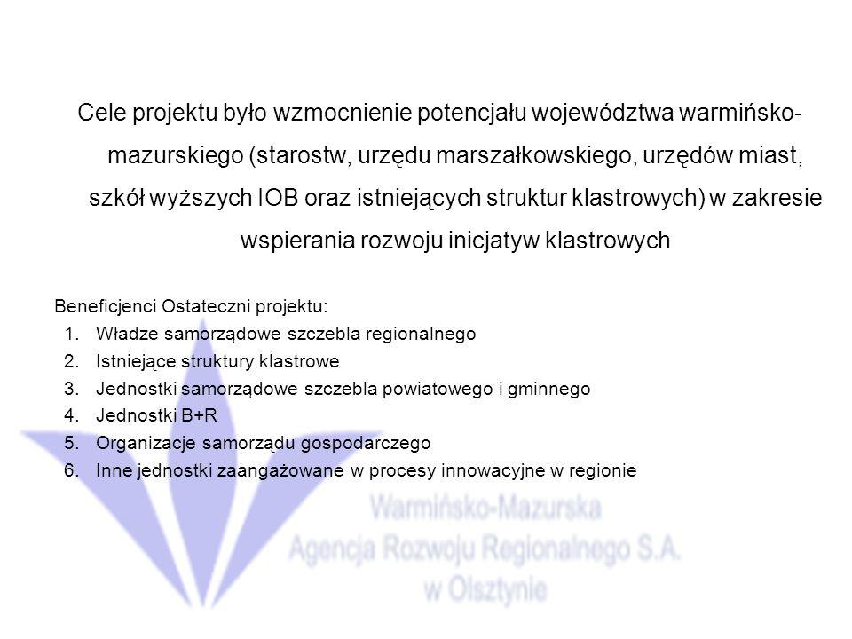 Cele projektu było wzmocnienie potencjału województwa warmińsko- mazurskiego (starostw, urzędu marszałkowskiego, urzędów miast, szkół wyższych IOB oraz istniejących struktur klastrowych) w zakresie wspierania rozwoju inicjatyw klastrowych Beneficjenci Ostateczni projektu: 1.Władze samorządowe szczebla regionalnego 2.Istniejące struktury klastrowe 3.Jednostki samorządowe szczebla powiatowego i gminnego 4.Jednostki B+R 5.Organizacje samorządu gospodarczego 6.Inne jednostki zaangażowane w procesy innowacyjne w regionie