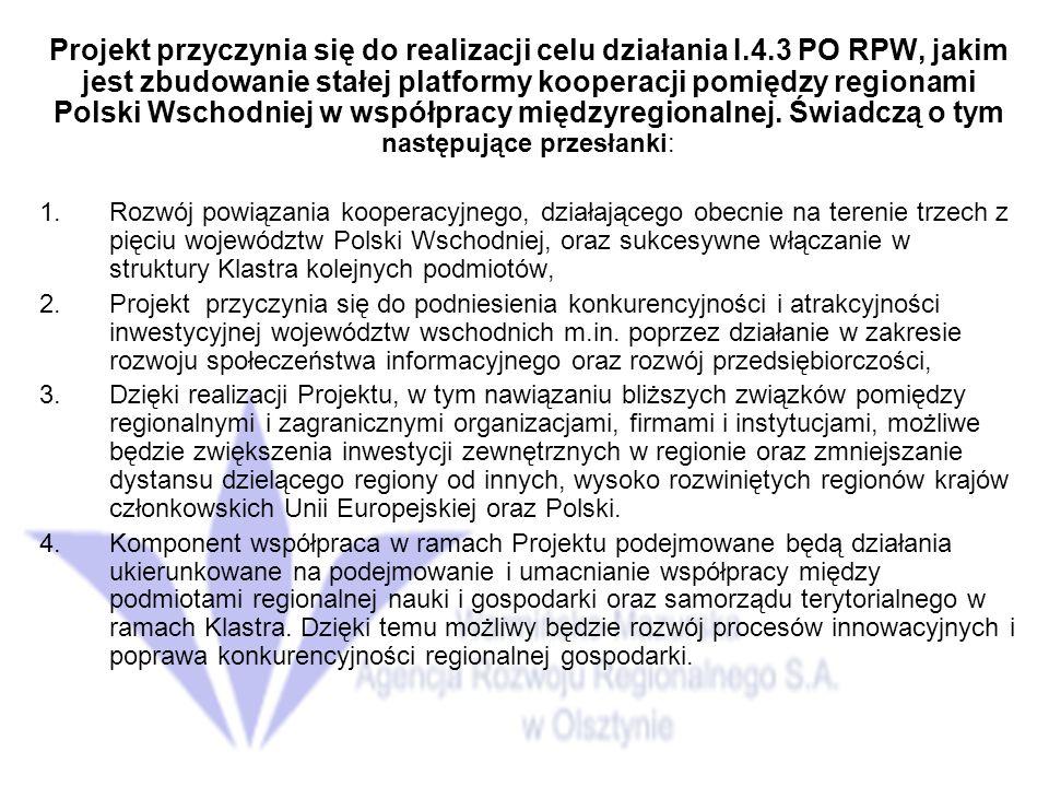 Projekt przyczynia się do realizacji celu działania I.4.3 PO RPW, jakim jest zbudowanie stałej platformy kooperacji pomiędzy regionami Polski Wschodniej w współpracy międzyregionalnej.