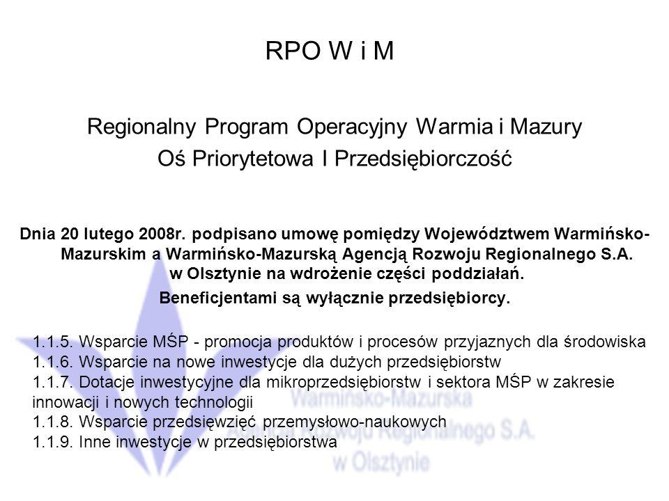 RPO W i M Regionalny Program Operacyjny Warmia i Mazury Oś Priorytetowa I Przedsiębiorczość Dnia 20 lutego 2008r.
