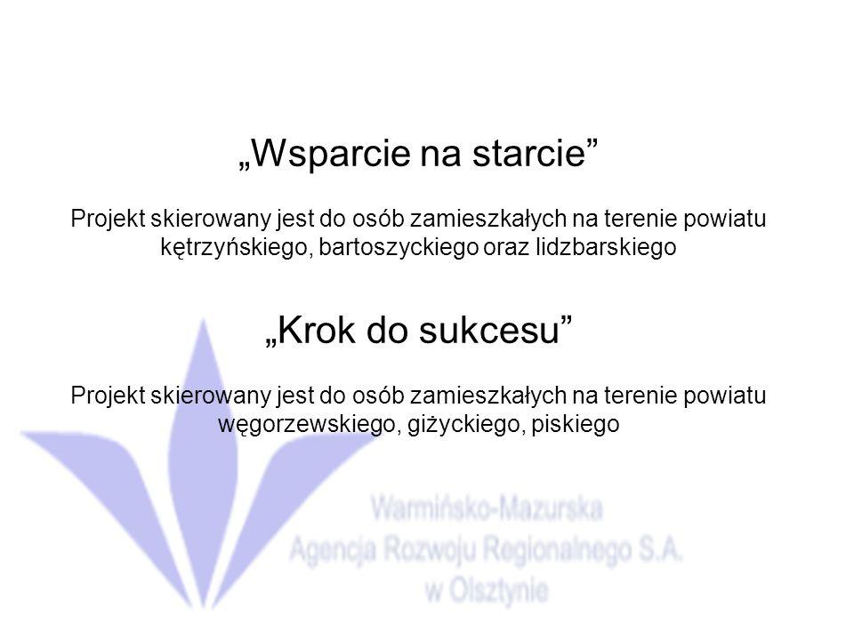 Wsparcie na starcie Projekt skierowany jest do osób zamieszkałych na terenie powiatu kętrzyńskiego, bartoszyckiego oraz lidzbarskiego Krok do sukcesu Projekt skierowany jest do osób zamieszkałych na terenie powiatu węgorzewskiego, giżyckiego, piskiego