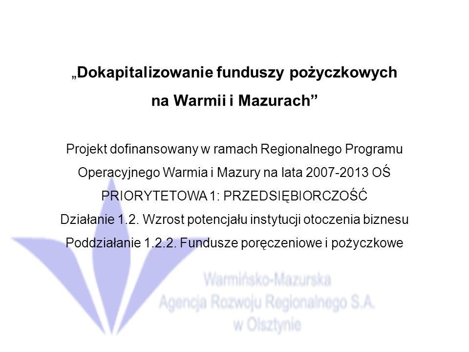 Dokapitalizowanie funduszy pożyczkowych na Warmii i Mazurach Projekt dofinansowany w ramach Regionalnego Programu Operacyjnego Warmia i Mazury na lata 2007-2013 OŚ PRIORYTETOWA 1: PRZEDSIĘBIORCZOŚĆ Działanie 1.2.
