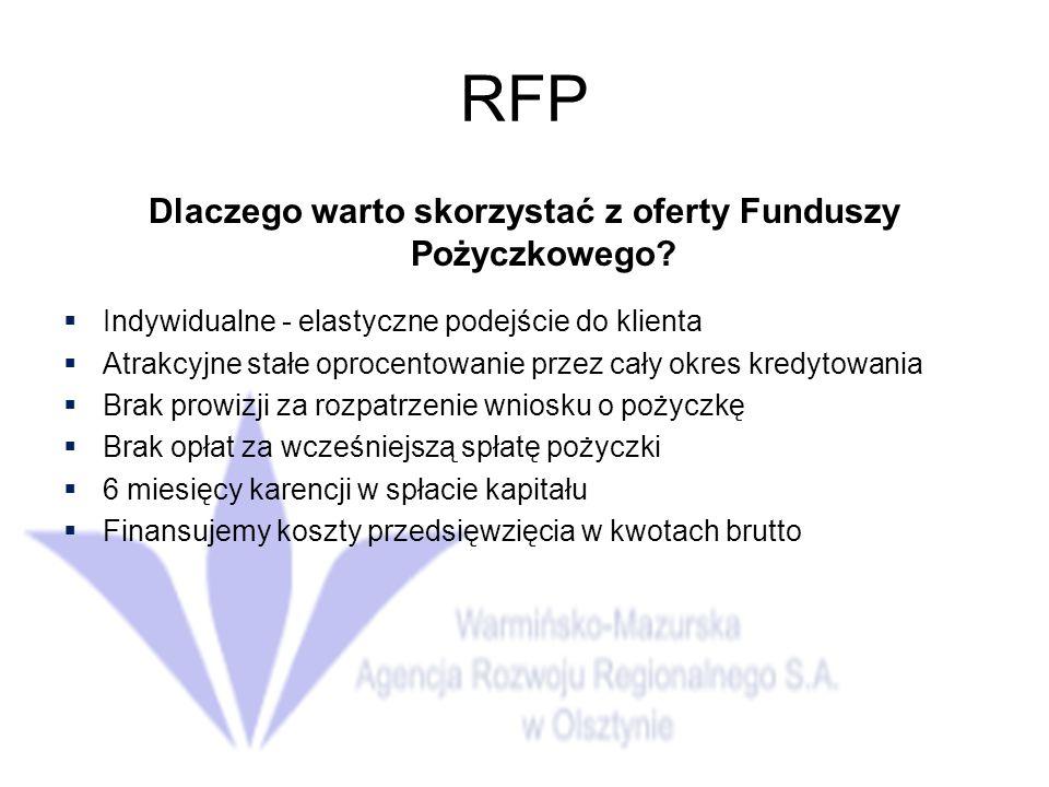 RFP Dlaczego warto skorzystać z oferty Funduszy Pożyczkowego.