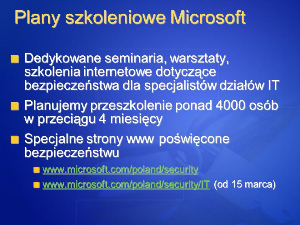 Plany szkoleniowe Microsoft Dedykowane seminaria, warsztaty, szkolenia internetowe dotyczące bezpieczeństwa dla specjalistów działów IT Planujemy prze