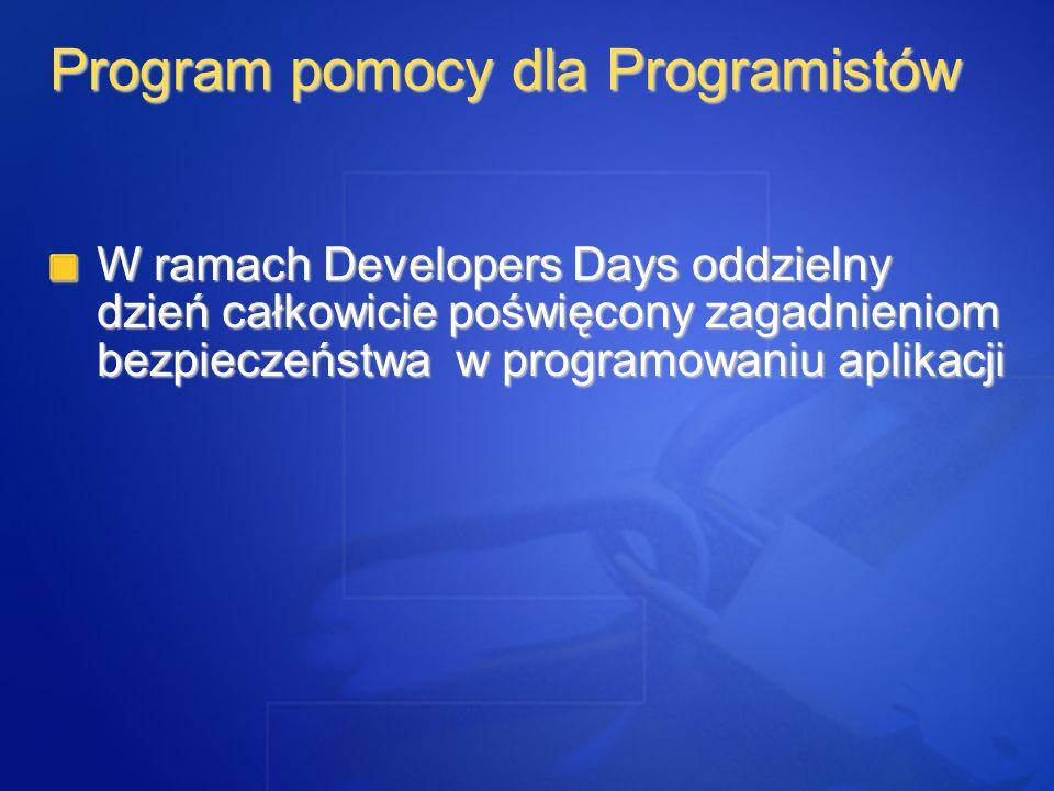 W ramach Developers Days oddzielny dzień całkowicie poświęcony zagadnieniom bezpieczeństwa w programowaniu aplikacji Program pomocy dla Programistów