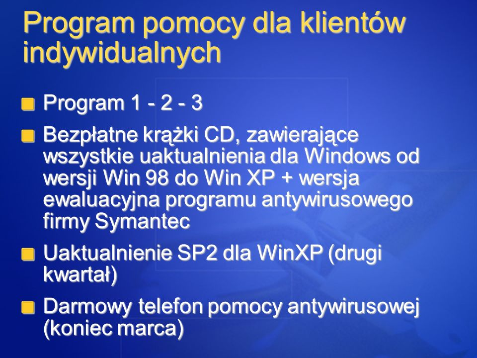 Program 1 - 2 - 3 Bezpłatne krążki CD, zawierające wszystkie uaktualnienia dla Windows od wersji Win 98 do Win XP + wersja ewaluacyjna programu antywi
