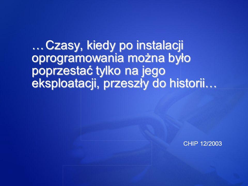 …Czasy, kiedy po instalacji oprogramowania można było poprzestać tylko na jego eksploatacji, przeszły do historii… CHIP 12/2003
