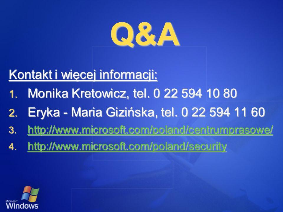 Q&A Kontakt i więcej informacji: 1. Monika Kretowicz, tel. 0 22 594 10 80 2. Eryka - Maria Gizińska, tel. 0 22 594 11 60 3. http://www.microsoft.com/p