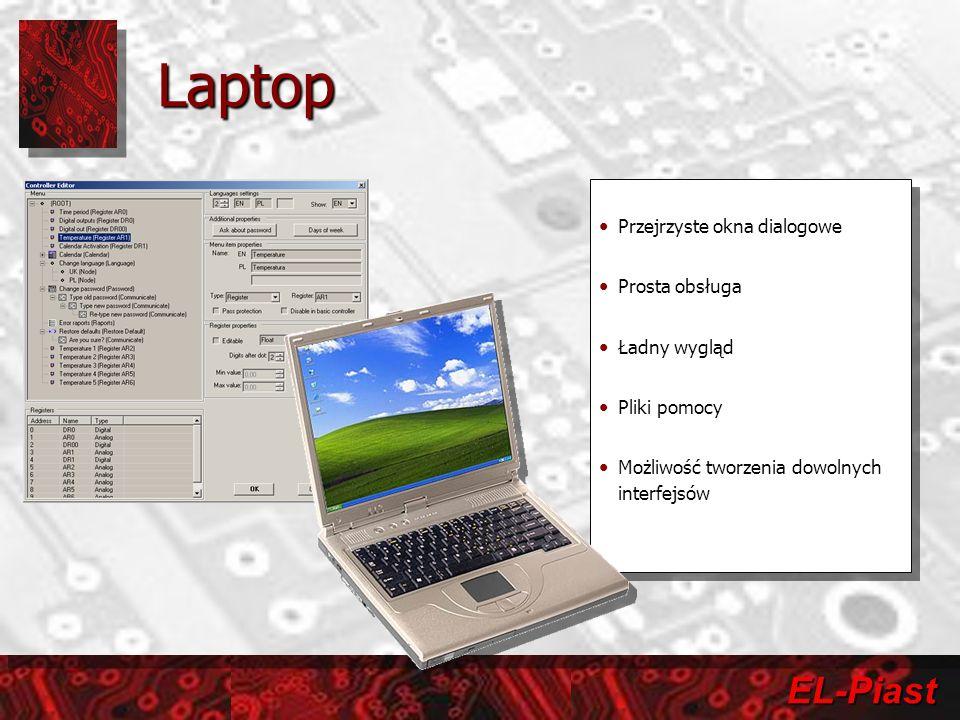 EL-Piast Laptop Przejrzyste okna dialogowe Prosta obsługa Ładny wygląd Pliki pomocy Możliwość tworzenia dowolnych interfejsów Przejrzyste okna dialogo