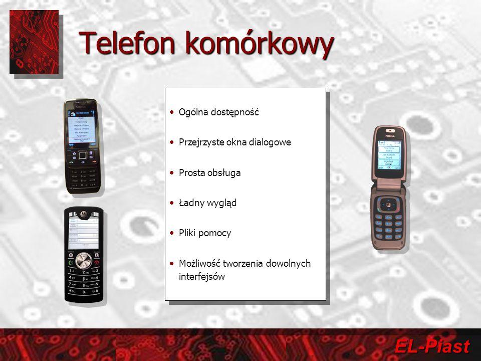 EL-Piast Telefon komórkowy Ogólna dostępność Przejrzyste okna dialogowe Prosta obsługa Ładny wygląd Pliki pomocy Możliwość tworzenia dowolnych interfe