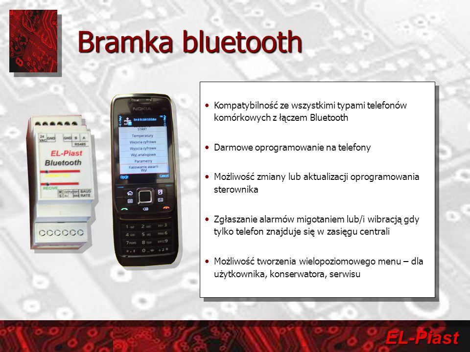 EL-Piast Bramka bluetooth Kompatybilność ze wszystkimi typami telefonów komórkowych z łączem Bluetooth Darmowe oprogramowanie na telefony Możliwość zmiany lub aktualizacji oprogramowania sterownika Zgłaszanie alarmów migotaniem lub/i wibracją gdy tylko telefon znajduje się w zasięgu centrali Możliwość tworzenia wielopoziomowego menu – dla użytkownika, konserwatora, serwisu Kompatybilność ze wszystkimi typami telefonów komórkowych z łączem Bluetooth Darmowe oprogramowanie na telefony Możliwość zmiany lub aktualizacji oprogramowania sterownika Zgłaszanie alarmów migotaniem lub/i wibracją gdy tylko telefon znajduje się w zasięgu centrali Możliwość tworzenia wielopoziomowego menu – dla użytkownika, konserwatora, serwisu