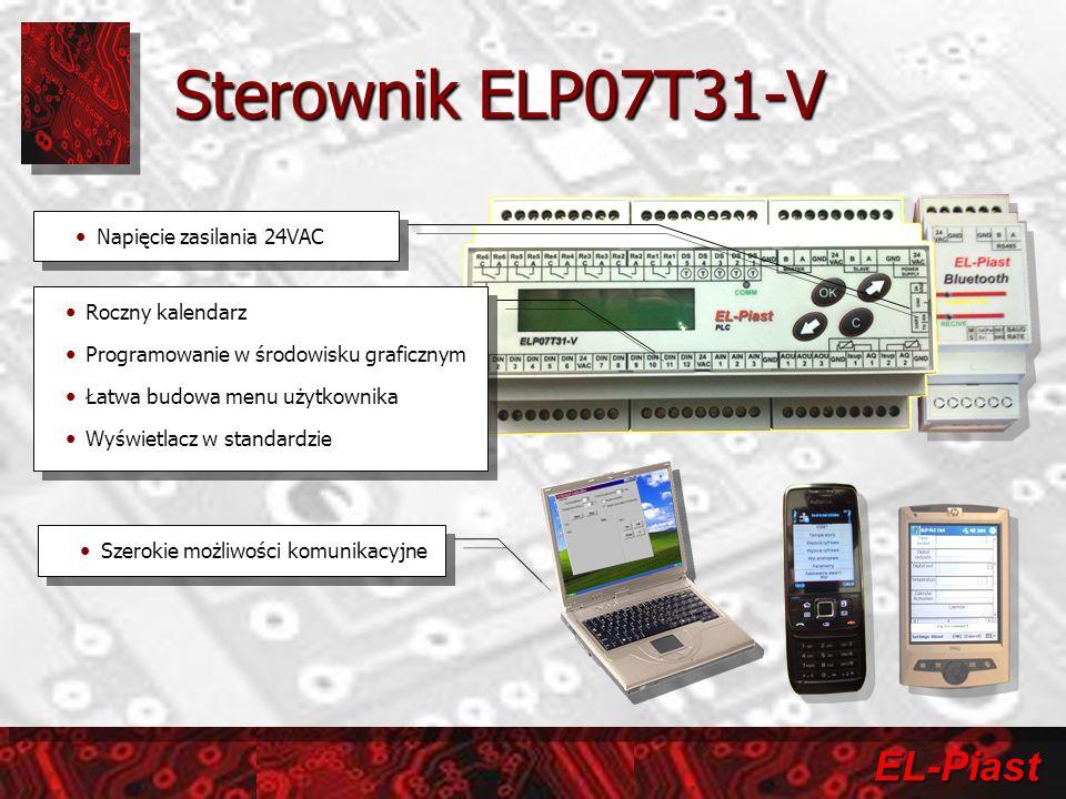 EL-Piast Sterownik ELP07T31-V Napięcie zasilania 24VAC Szerokie możliwości komunikacyjne Roczny kalendarz Programowanie w środowisku graficznym Łatwa budowa menu użytkownika Wyświetlacz w standardzie Roczny kalendarz Programowanie w środowisku graficznym Łatwa budowa menu użytkownika Wyświetlacz w standardzie