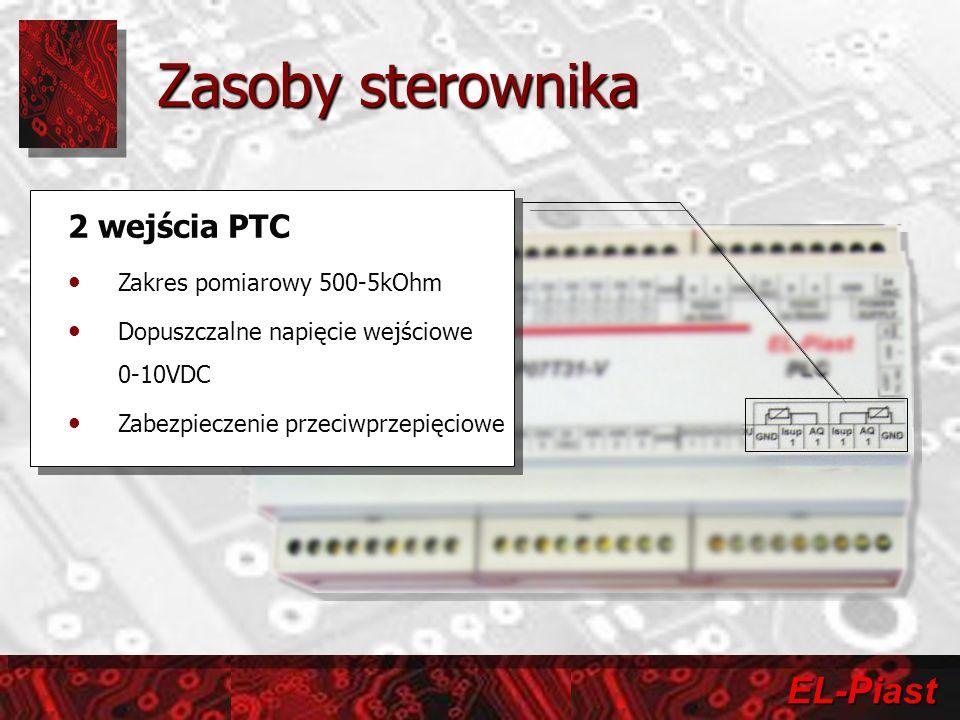 EL-Piast 2 wejścia PTC Zakres pomiarowy 500-5kOhm Dopuszczalne napięcie wejściowe 0-10VDC Zabezpieczenie przeciwprzepięciowe 2 wejścia PTC Zakres pomi