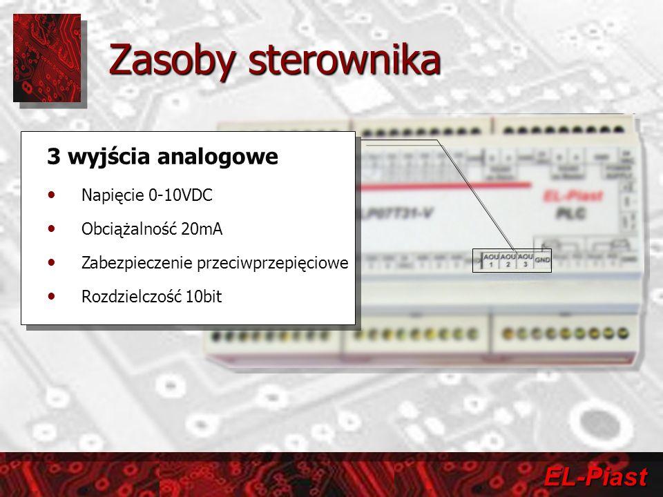 EL-Piast 3 wyjścia analogowe Napięcie 0-10VDC Obciążalność 20mA Zabezpieczenie przeciwprzepięciowe Rozdzielczość 10bit 3 wyjścia analogowe Napięcie 0-10VDC Obciążalność 20mA Zabezpieczenie przeciwprzepięciowe Rozdzielczość 10bit Zasoby sterownika