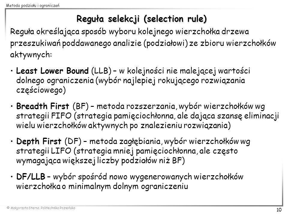 Małgorzata Sterna, Politechnika Poznańska 10 Metoda podziału i ograniczeń Reguła selekcji (selection rule) Reguła określająca sposób wyboru kolejnego