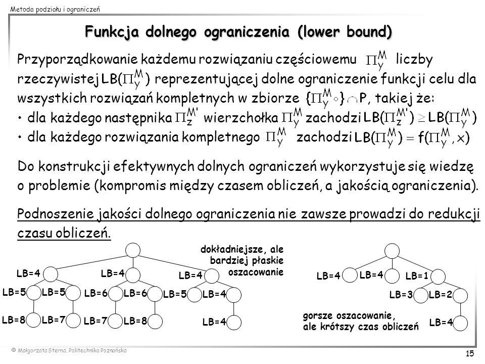 Małgorzata Sterna, Politechnika Poznańska 15 Metoda podziału i ograniczeń Funkcja dolnego ograniczenia (lower bound) Przyporządkowanie każdemu rozwiąz