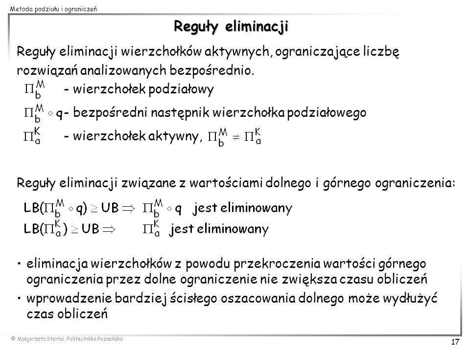 Małgorzata Sterna, Politechnika Poznańska 17 Metoda podziału i ograniczeń Reguły eliminacji Reguły eliminacji wierzchołków aktywnych, ograniczające li