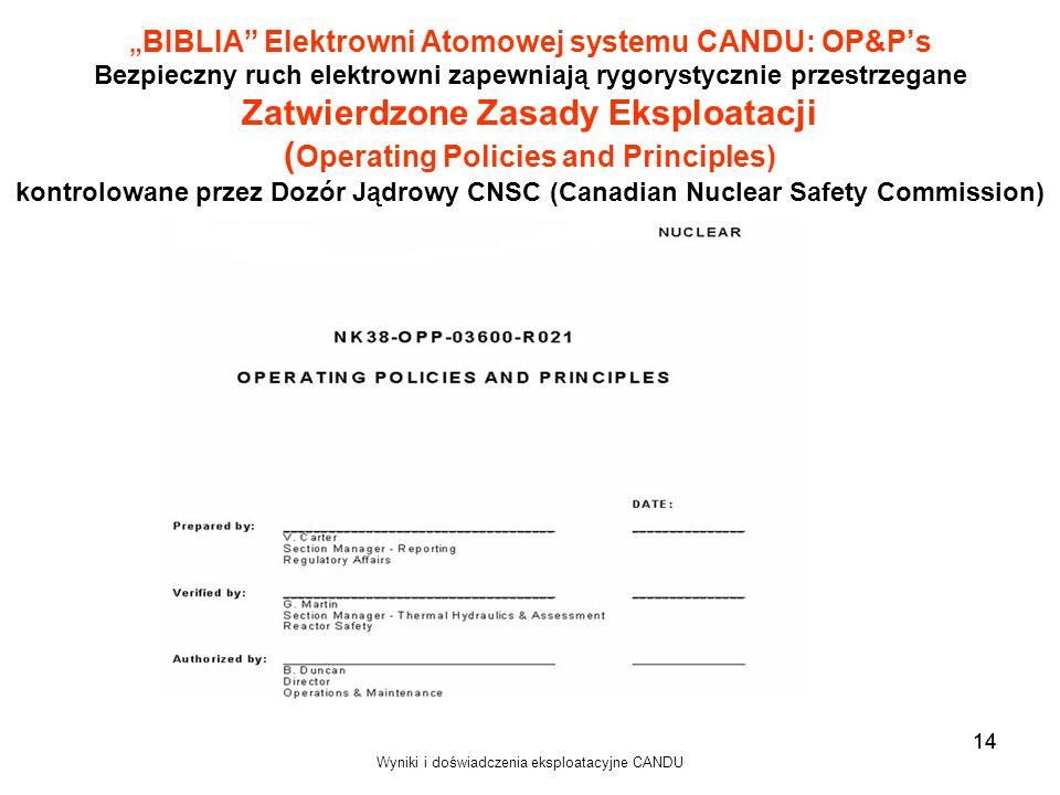 Wyniki i doświadczenia eksploatacyjne CANDU 14 BIBLIA Elektrowni Atomowej systemu CANDU: OP&Ps Bezpieczny ruch elektrowni zapewniają rygorystycznie pr