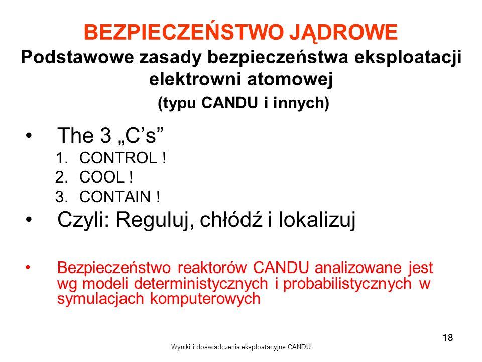 Wyniki i doświadczenia eksploatacyjne CANDU 18 BEZPIECZEŃSTWO JĄDROWE Podstawowe zasady bezpieczeństwa eksploatacji elektrowni atomowej (typu CANDU i