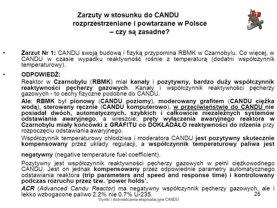 Wyniki i doświadczenia eksploatacyjne CANDU 25 Zarzuty w stosunku do CANDU rozprzestrzeniane i powtarzane w Polsce – czy są zasadne? Zarzut Nr 1: CAND
