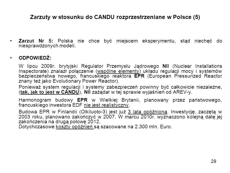 29 Zarzuty w stosunku do CANDU rozprzestrzeniane w Polsce (5) Zarzut Nr 5: Polska nie chce być miejscem eksperymentu, stąd niechęć do niesprawdzonych