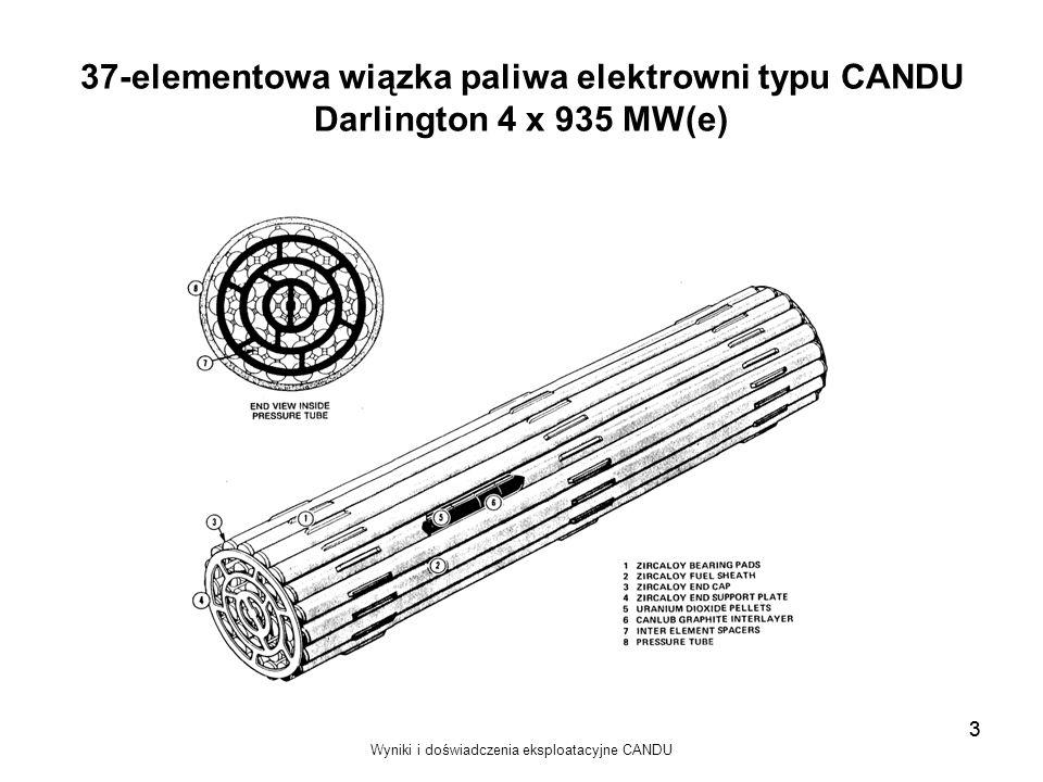Wyniki i doświadczenia eksploatacyjne CANDU 3 37-elementowa wiązka paliwa elektrowni typu CANDU Darlington 4 x 935 MW(e) 3