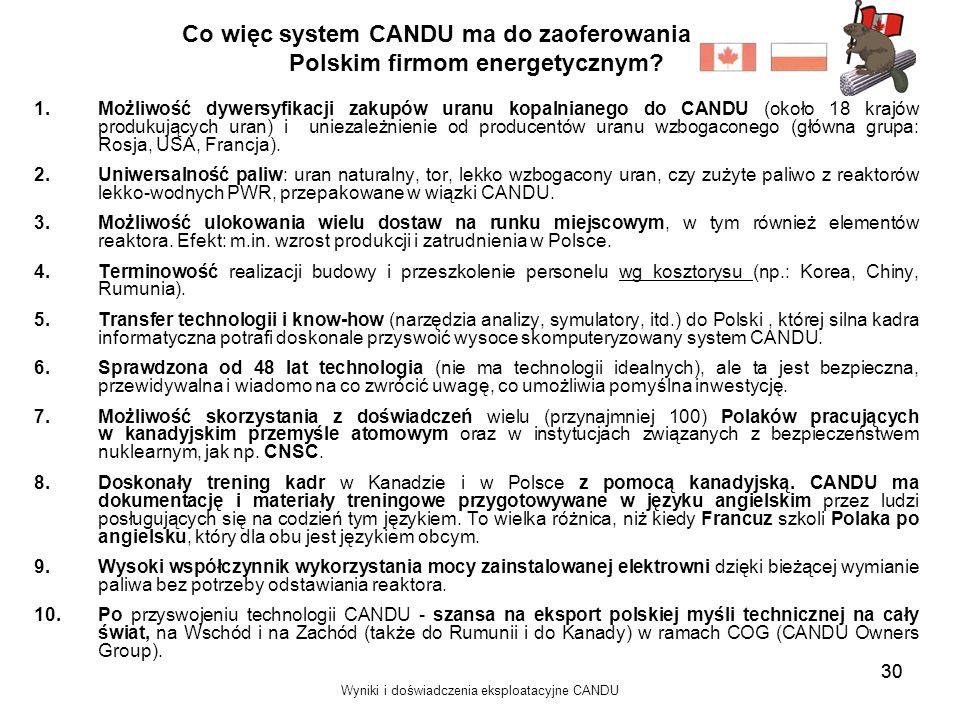 Wyniki i doświadczenia eksploatacyjne CANDU 30 Co więc system CANDU ma do zaoferowania Polskim firmom energetycznym? 1.Możliwość dywersyfikacji zakupó