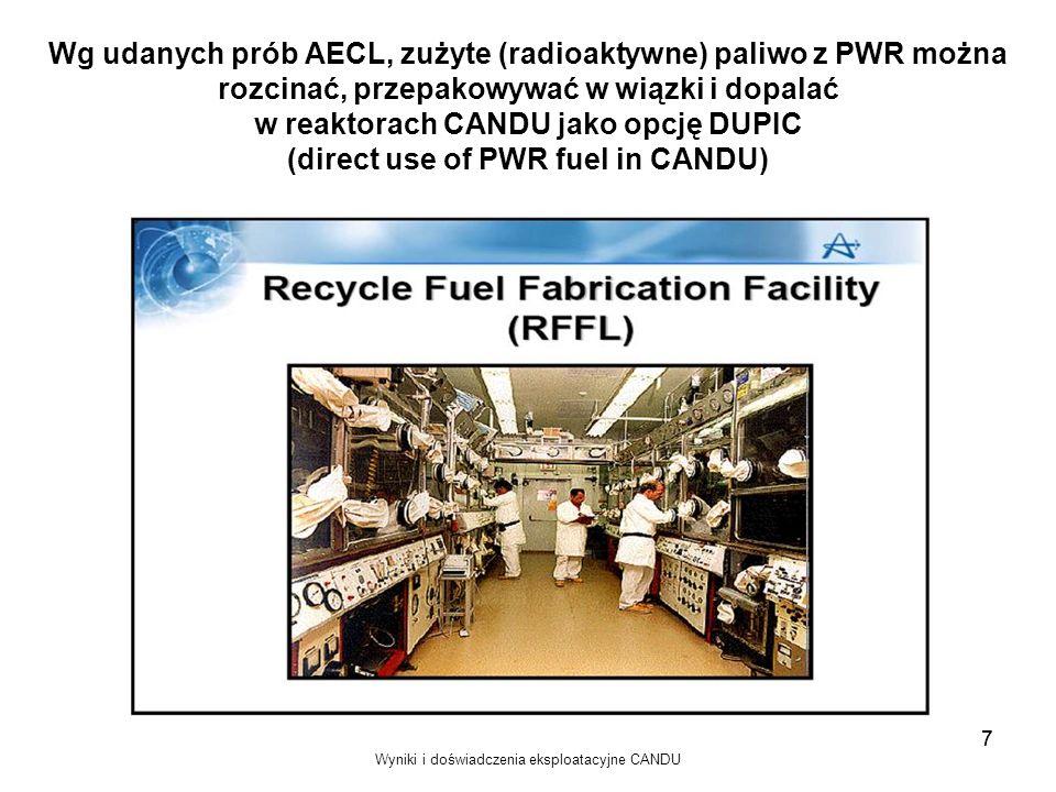 Wyniki i doświadczenia eksploatacyjne CANDU 7 Wg udanych prób AECL, zużyte (radioaktywne) paliwo z PWR można rozcinać, przepakowywać w wiązki i dopala