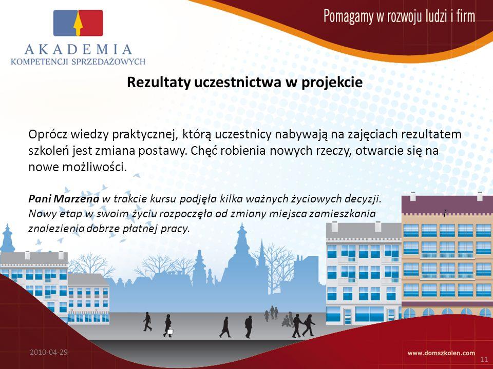 Rezultaty uczestnictwa w projekcie Oprócz wiedzy praktycznej, którą uczestnicy nabywają na zajęciach rezultatem szkoleń jest zmiana postawy.